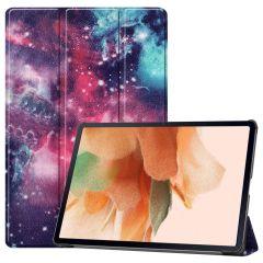 iMoshion Design Trifold Bookcase Galaxy Tab S7 Plus / Tab S7 FE 5G - Space