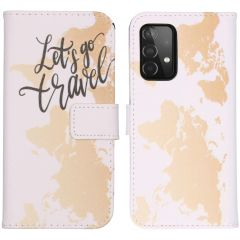 iMoshion Design TPU Booktype Hülle Galaxy A72 - Let's Go Travel White