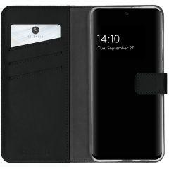Selencia Echtleder Booktype Hülle Samsung Galaxy S21 FE - Schwarz
