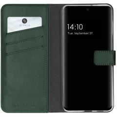 Selencia Echtleder Booktype Hülle Samsung Galaxy S21 FE - Grün