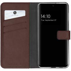 Selencia Echtleder Booktype Hülle Samsung Galaxy S21 FE - Braun