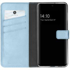 Selencia Echtleder Booktype Hülle Samsung Galaxy S21 FE - Hellblau