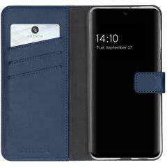 Selencia Echtleder Booktype Hülle Samsung Galaxy S21 FE - Blau