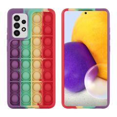 iMoshion Pop It Fidget Toy - Pop It Hülle Samsung Galaxy A72 -Rainbow