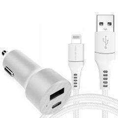 iMoshion Autoladegerät 20 W + Lightning auf USB-Kabel - 1.5 Meter - Weiß